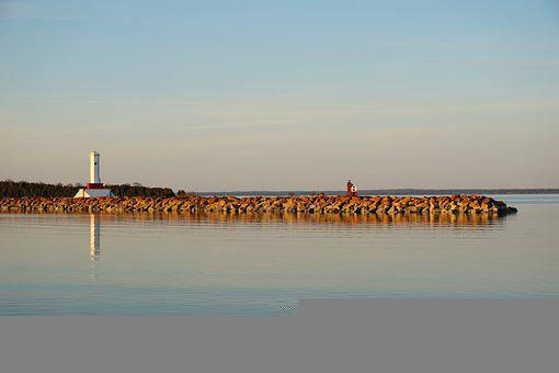 Lighthouse, Lake, Coast, Shore