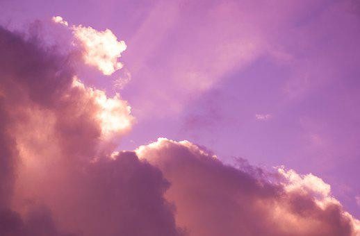 Sun Rays, Sunset, Clouds, Sky, Pink, Cloudy