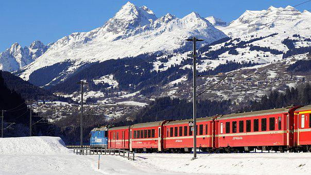 Mountains, Train, Snow, Railway