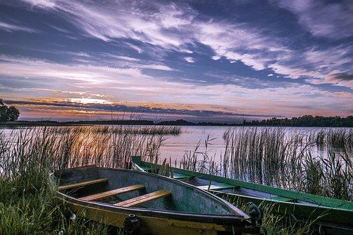 Boats, Lake, Sunset, Sunrise, Reed