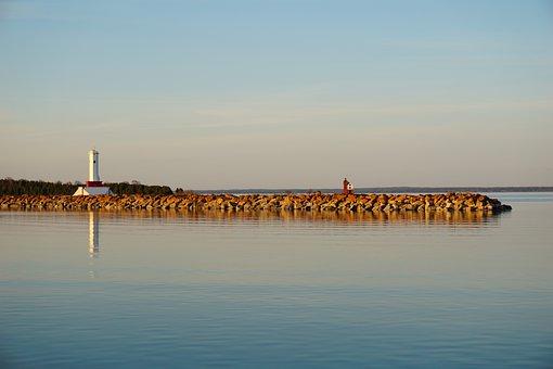 Lighthouse, Lake, Coast, Shore, Reflection, Water