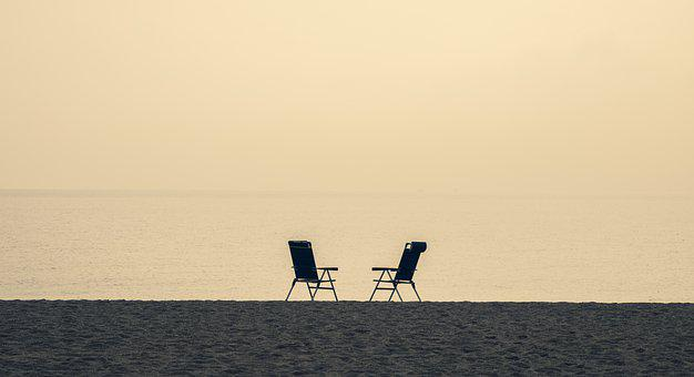 Beach Chairs, Beach, Sea, Horizon, Seats, Sand
