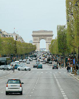 Arc De Triomphe, Road, Traffic, Vehicles, Cars