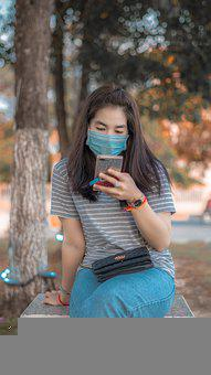 Woman, Face Mask, Smartphone, Waiting, Bench, Park
