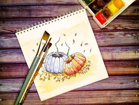 Pumpkin, Brush, Watercolor, Paint, Figure, Table