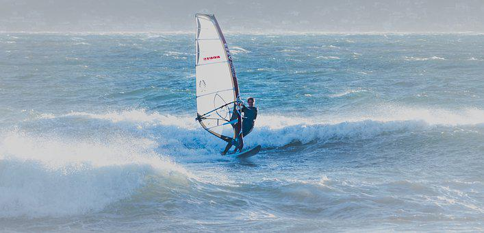 Windsurfing, Waves, Sea, Sailboarding, Boardsailing