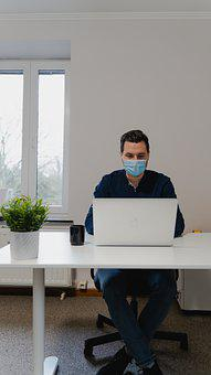 Man, Laptop, Mask, Desk, Work, Office