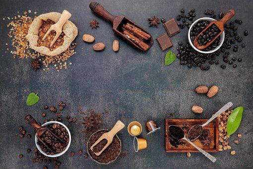 Coffee Beans, Flat Lay, Background, Arabica, Beans
