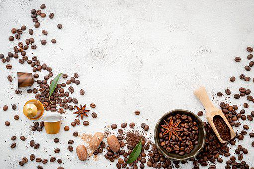 Coffee Beans, Flat Lay, Background, Wood, Arabica