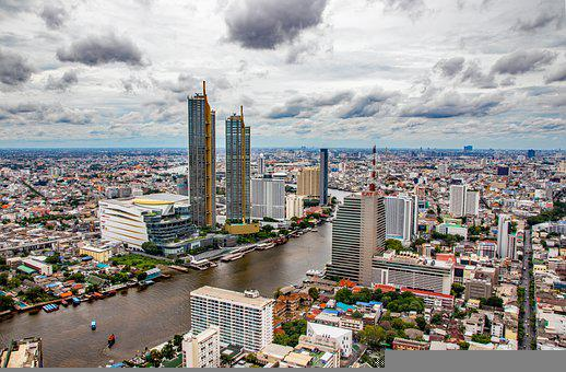Bangkok, City, River, Buildings