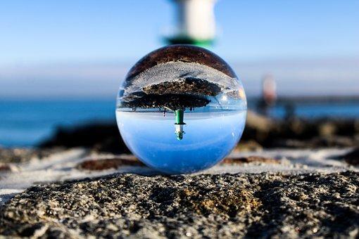 Lighthouse, Beach, Lensball, Reflection, Sky, Port