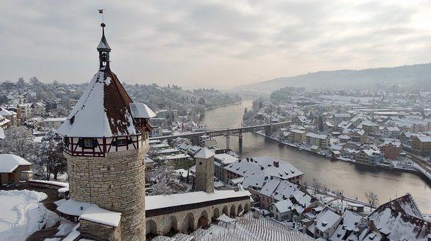 Castle, Munot, Snow, River, Bridge, Castle Tower