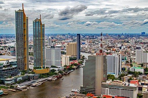 Bangkok, City, River, Buildings, Panorama, Skyscrapers