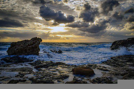 Rocky Coast, Beach, Waves, Sky, Clouds