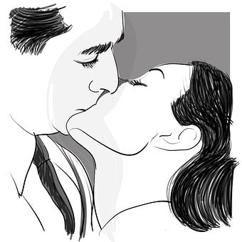 Kiss, Drawing, Couple, Mouth, Design