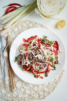 Salad, Meat, Food, Dish, Meal, Beef, Vegetables
