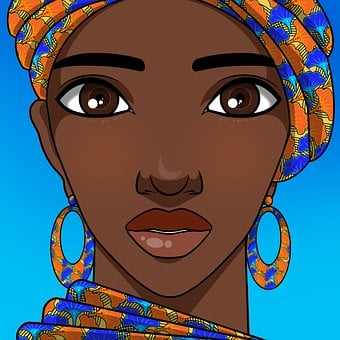 Woman, Face, Young, Female, Beauty, African, Drawing