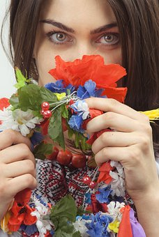 Woman, Flowers, Wreath, Crown, Face, Make Up, Beauty