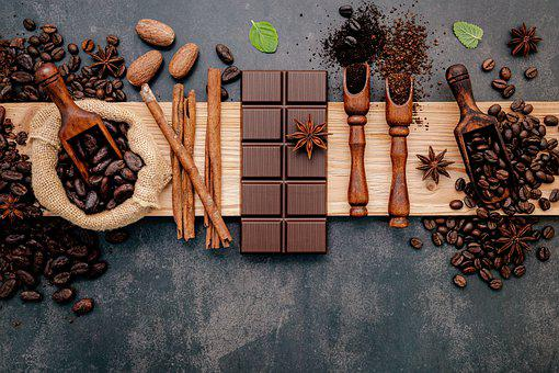 Coffee Beans, Flat Lay, Background, Wood, Arabica