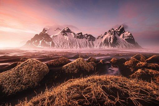 Mountains, Nature, Sunrise, Rocks, Grass, Fog, Mist