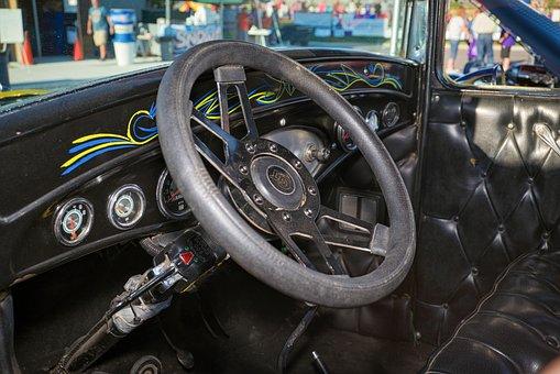 Classic Car, Steering Wheel, Dashboard, Interior, Gears