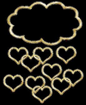 Gold Foil, Cloud, Hearts, Gold Foil Cloud, Golden