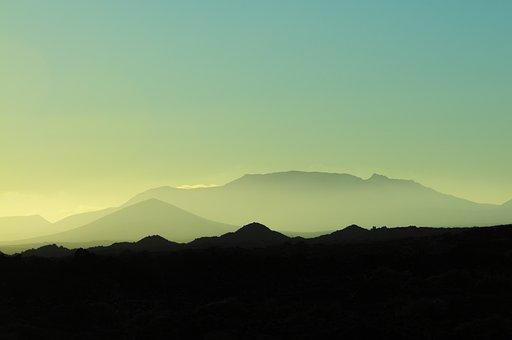 Desert, Mountains, Silhouettes, Horizon