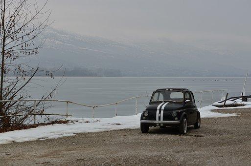 Car, Road, Lake, Snow, Winter, Lakeside, Vehicle, Auto