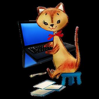 Cat, Computer, Work, Animal, Laptop, Digital, Internet