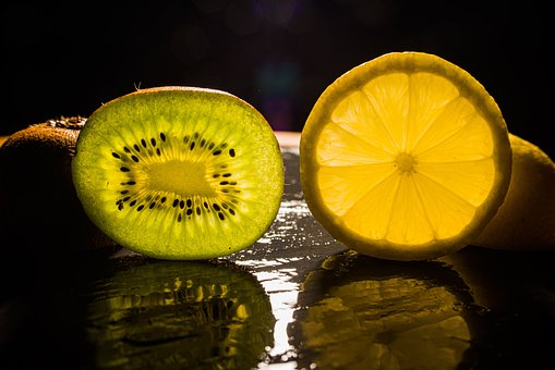 Kiwi, Lemon, Slices, Cross Section, Backlighting