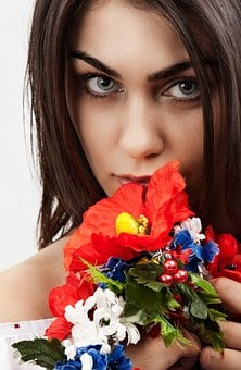 Woman, Flowers, Brunette, Face, Make Up, Lipstick