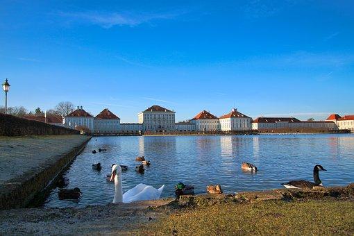 Nymphenburg Palace, Lake, Swans, Ducks, Waterfowls