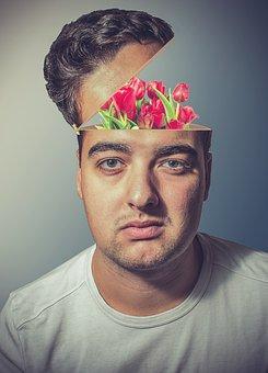 Man, Head, Tulips, Flowers, Open, Face, Open Head