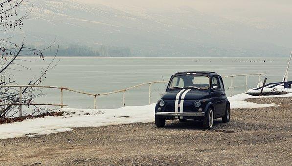 Car, Road, Lake, Snow, Winter, Lakeside