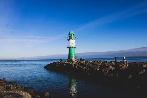 Lighthouse, Sea, Breakwaters, Coast, Beacon, Navigation