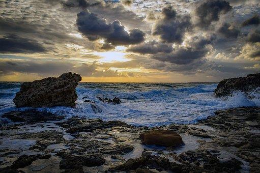Rocky Coast, Beach, Waves, Sky, Clouds, Winter, Scenery