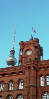 Building, Architecture, Clock Tower, Town Hall, Berlin