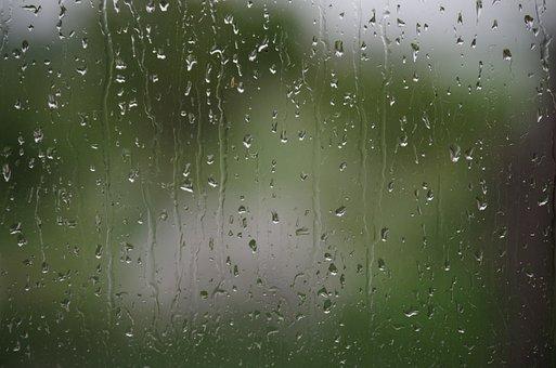 Window, Rain, Drops, Wet, Green, Spring