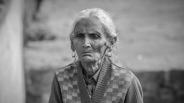 Old Woman, Portrait, Monochrome, Woman, Female, Aged