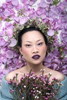 Woman, Beauty, Dried Flowers, Bouquet, Girl, Flowers