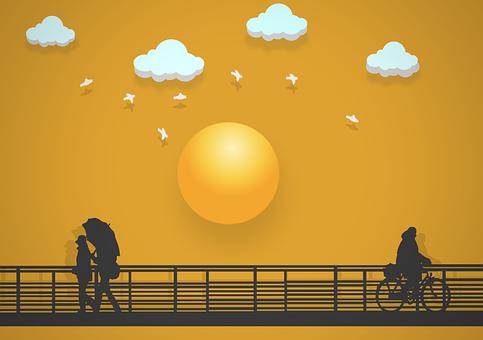 Bridge, People, Sunset, Silhouette, Walkway, Clouds