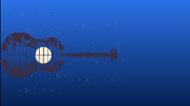 Wallpaper, Guitar, Moon, Music, Trees, Moonlight, Night