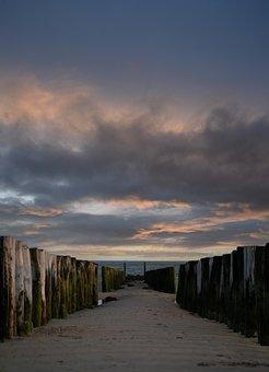 Beach, Sunset, Groynes, Dusk, Twilight, Horizon, Sky