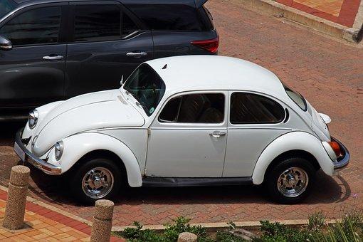 White Volkswagen Beetle, Car, Automobile, Vehicle