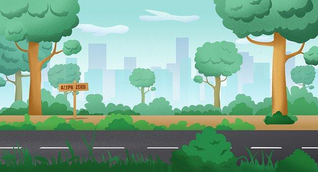 Background, 2d Illustration, Landscape Garden
