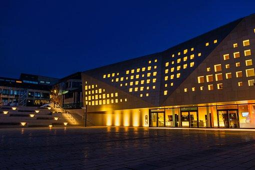 Building, Congress Hall, Facade, Evening, Lighting