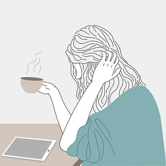 Woman, Coffee, Tablet Computer, Cellphone, Chat
