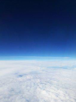 Flying, Above The Clouds, Clouds, Sky, Horizon, Blue