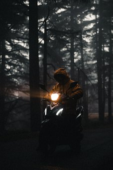 Man, Driver, Motorcycle, Scooter, Motorbike, Trees
