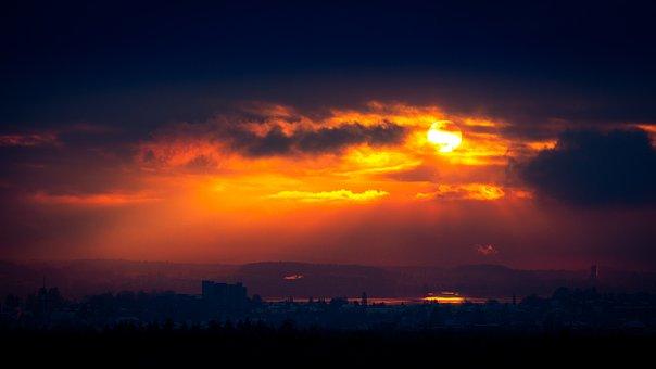 Lake, Sunrise, Morning, Sun, Orange, Clouds, Horizon